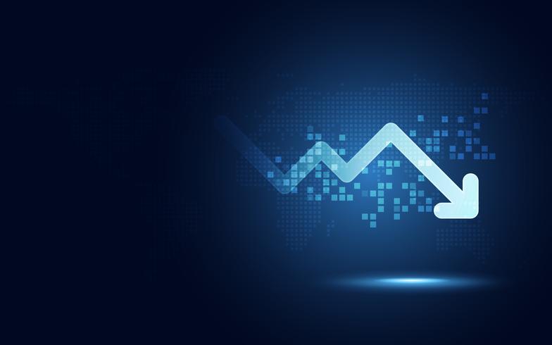 Fondo futuristico di tecnologia dell'estratto di trasformazione digitale del grafico della freccia di goccia. Grandi quantità di dati e crescita del business valuta e economia degli investimenti. Illustrazione vettoriale