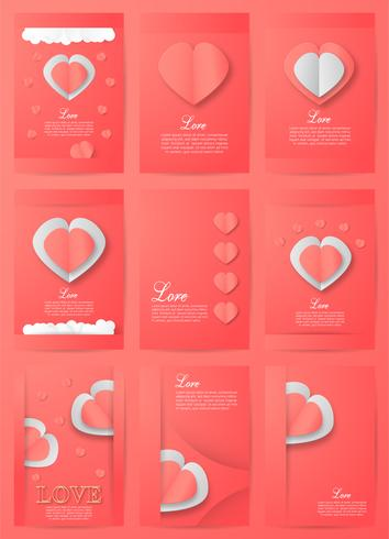 Set of Invitation background in paper cut style with copy space.Template design for cover, web banner and packaging. Vector illustration for Valentine's day.