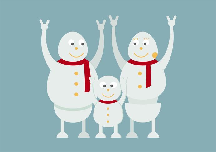 Ritratto di famiglia del pupazzo di neve su fondo blu per Buon Natale il 25 dicembre.
