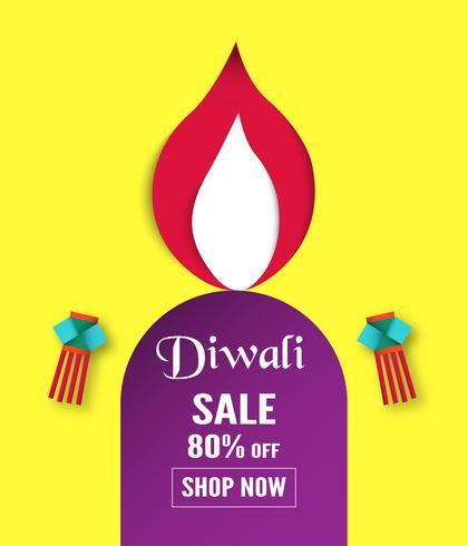 Diwali è il festival delle luci indù per sfondo invito, banner web, pubblicità. Illustrazione vettoriale design in carta tagliata e stile artigianale.