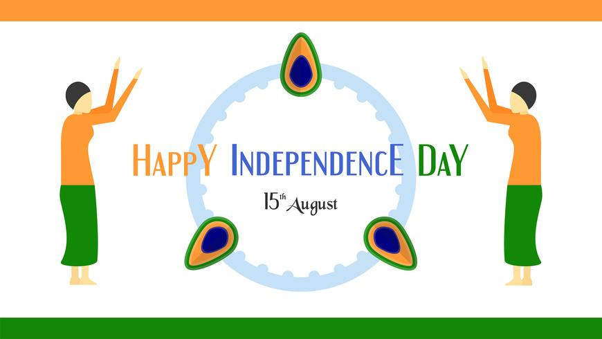 Happy Independence day of India country and Indian people. Vector illustration design isolated on white background.