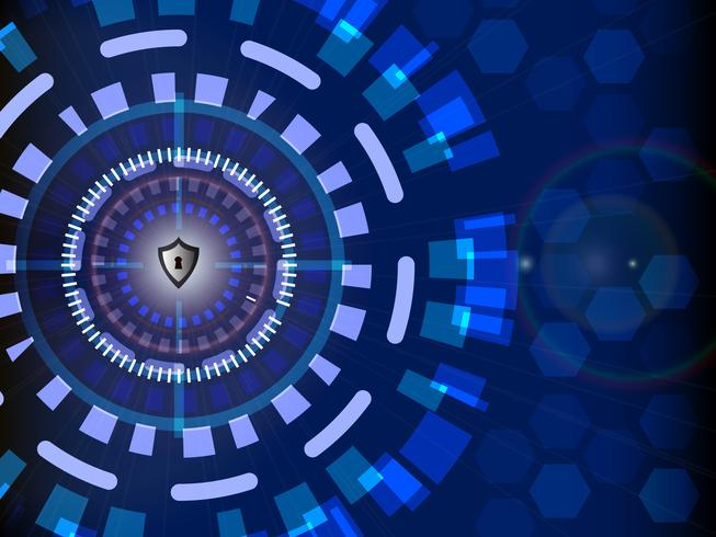 Concepto de seguridad cibernética digital con fondo de tecnología de círculo, ilustración vectorial
