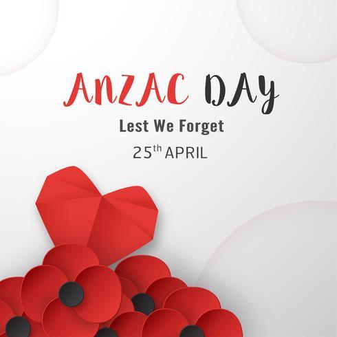Joyeux Jour Anzac le 25 avril pour qui a servi et qui est mort en Australie et en Nouvelle-Zélande. Modèle d'élément de modèle pour la bannière, affiche, voeux, invitation. Illustration vectorielle en papier découpé, style artisanal.