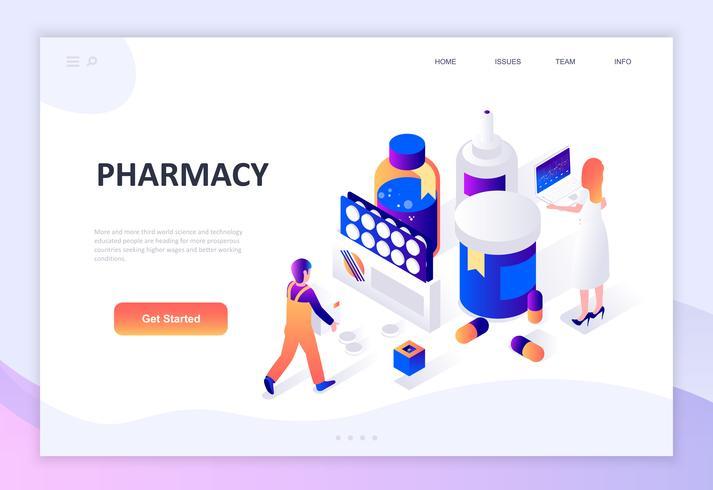 Concepto isométrico de diseño plano moderno de farmacéutico en farmacia.