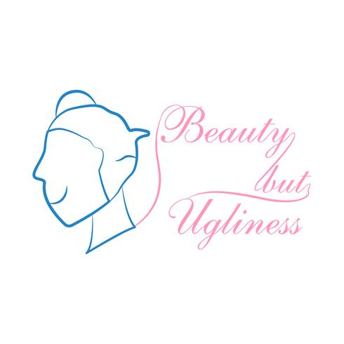 """Slogan design dans le concept de """"beau et laid"""" pour la publicité, T-shirt, couverture, bannière, modèle, vêtements et brochure. Illustration vectorielle au design plat avec des couleurs roses et bleus."""