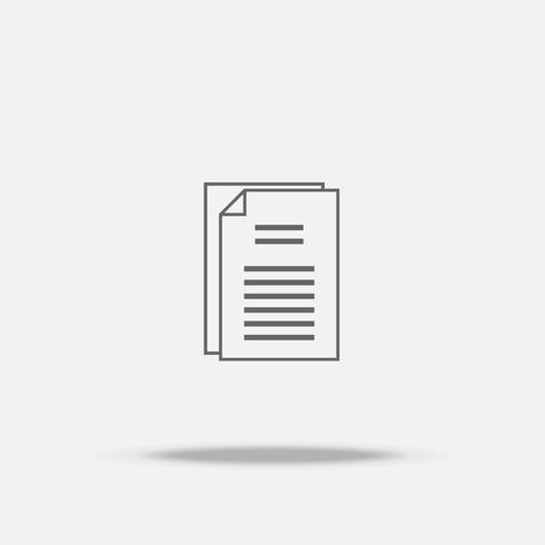 Icona piana di carta documento con ombra