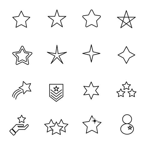 Sterpictogram vastgestelde vector. Teken en symbool concept. Dunne lijn pictogramthema. Witte geïsoleerde achtergrond. Illustratie vector.