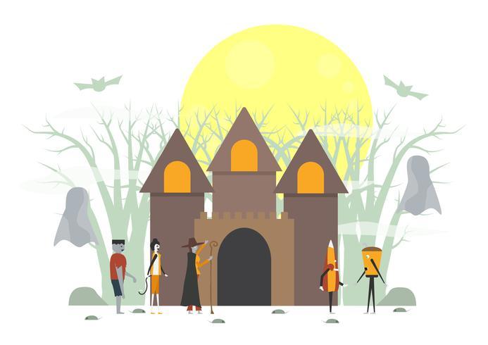 Escena de miedo mínima para el día de Halloween, 31 de octubre, con monstruos que incluyen vidrio, frankenstein, paraguas, bruja, gato. Ilustración del vector aislada en el fondo blanco.