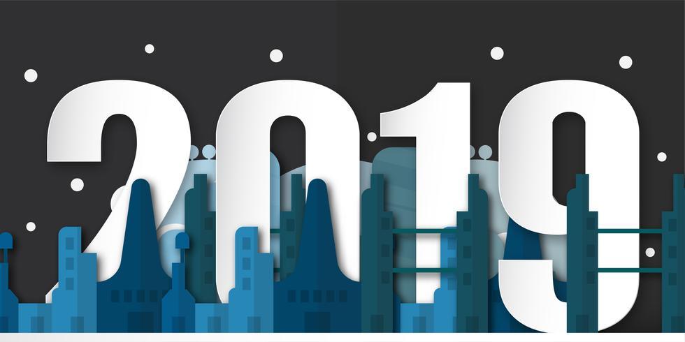Bonne année 2019 décoration de nuit avec la ville urbaine. Illustration vectorielle en papier découpé et artisanat numérique avec style minimalisme.