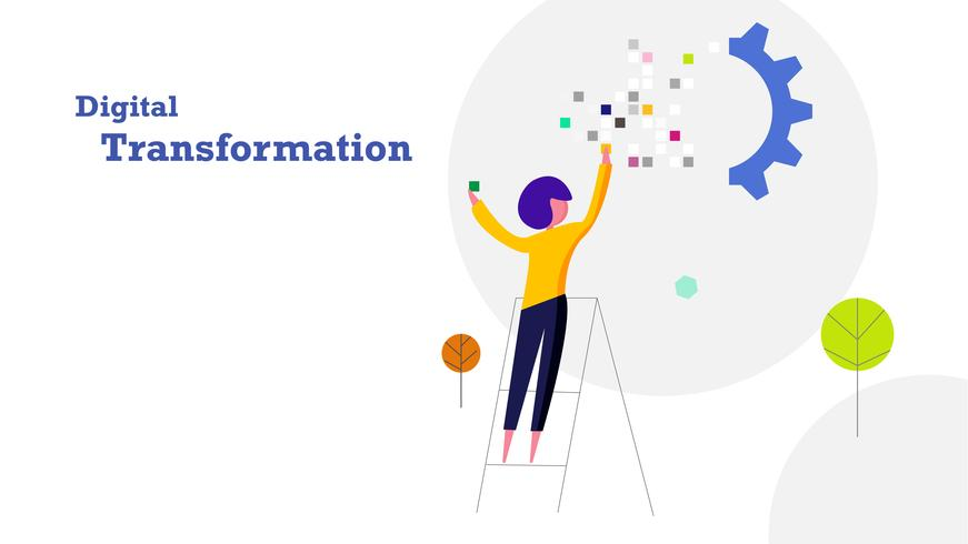 Digital transformation platt design bakgrund. Människan fyller i pixeldata-klistermärke till industriväxeltåg. Industri 4.0 och teknik koncept.