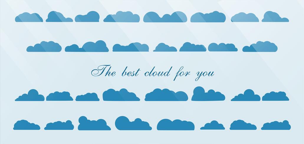 Satz der besten Wolke lokalisiert auf blauem Hintergrund mit Textraum und -licht.