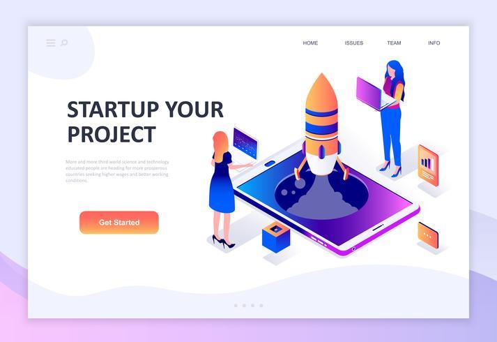 Concetto isometrico moderno design piatto di Startup Your Project