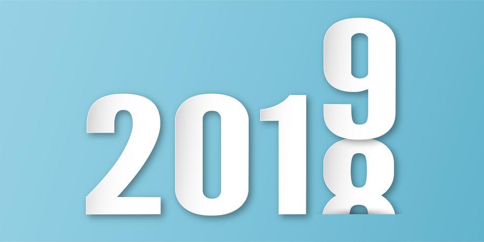 Decoração do ano novo feliz 2019 no fundo azul. Vector a ilustração com projeto da caligrafia do número no ofício cortado e digital do papel. O conceito mostra que houve mudança do ano.