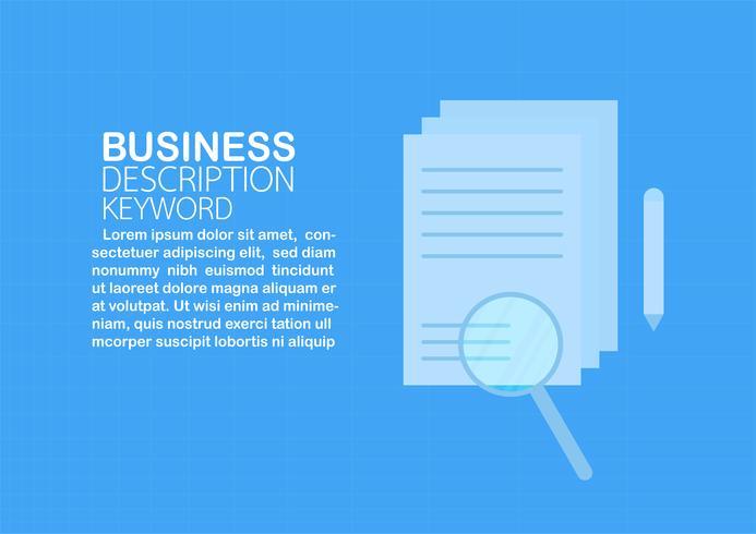Lente d'ingrandimento sulla carta con lo spazio del testo isolato su sfondo blu. Illustrazione vettoriale su design piatto.