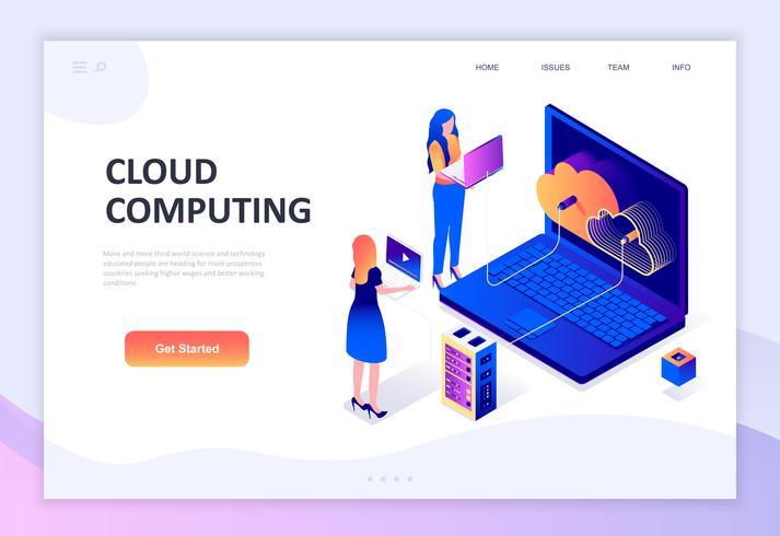 Modernt plandesign isometrisk koncept Cloud Technology