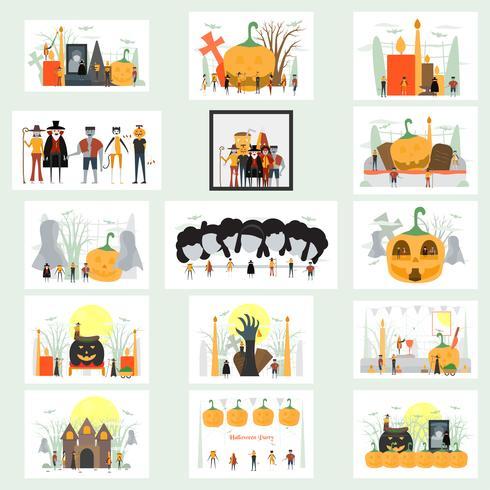 Escena mínima para el día de Halloween, 31 de octubre, con monstruos que incluyen drácula, vidrio, hombre calabaza, frankenstein, paraguas, gato, bromista, bruja. Ilustración del vector aislada en el fondo blanco.
