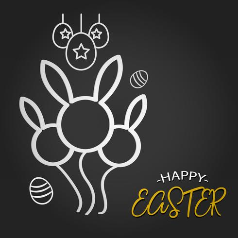 Happy Easter template with Rabbit Balloon shape and eggs on dark background. Vector illustration. Design layout for invitation card, greeting card, banner poster, and gift voucher. Black Chalkboard