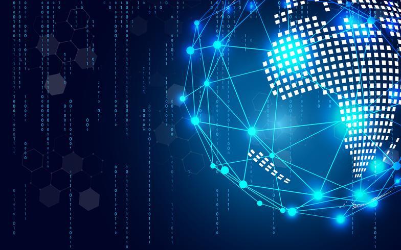 Blauwe technologiecirkel en computerwetenschaps abstracte achtergrond met blauwe en binaire codematrijs. Bedrijf en verbinding. Futuristisch en industrie 4.0-concept. Internet cyber en netwerkthema.