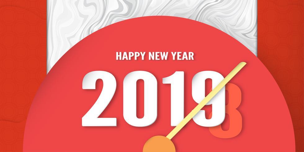 Frohes neues Jahr 2019 Dekoration auf Premium-Hintergrund. Vektorillustration mit Kalligraphiedesign der Zahl im Papierschnitt und im digitalen Handwerk. Das Konzept zeigt, dass es sich im Laufe des Jahres verändert hat.