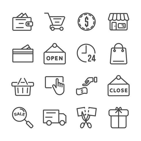 Shopping icon set. Black Friday and Cyber Monday concept Thin line icon theme. Outline stroke symbol icons. White isolated background. Illustration vector.