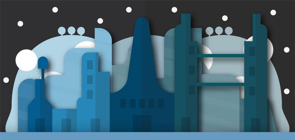 Pop up design de bâtiments urbains et future ville la nuit. Illustration vectorielle avec style plat