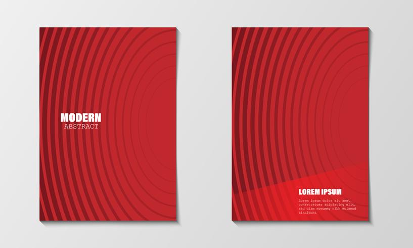 Abstrait minimal couvre le modèle de conception. Gradients de ligne de cercle rouge modernes. Brochure de profil d'entreprise et rapport annuel d'activité. Illustration vectorielle EPS10 Format A4 imprimable et tout format de papier