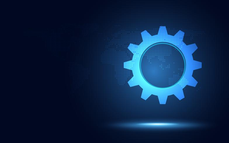 Fondo azul futurista de la tecnología del extracto de la tierra. Inteligencia artificial en la transformación digital y en la industria del big data 4.0. Crecimiento empresarial seguridad informática e inversión. Ilustración vectorial vector