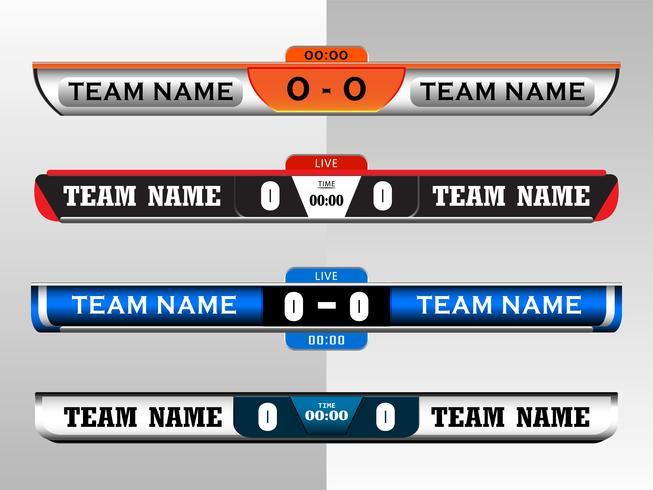 Plantilla gráfica de la pantalla digital del marcador para la transmisión de fútbol, fútbol o fútbol sala, plantilla de diseño de ilustración vectorial para el partido de la liga de fútbol. Diseño de archivo vectorial EPS10