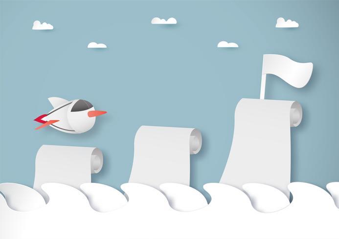 Ilustración de vector con puesta en marcha concepto en corte de papel, artesanía y estilo origami. Cohete en el cielo.
