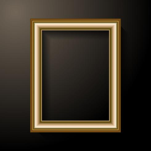 Golden photo frame template. Home decoration and interior concept. Black light background