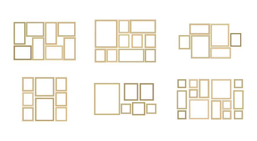 Set di foto cornice decorativa con bordo oro, disegno vettoriale con copia spazio nel concetto premium.