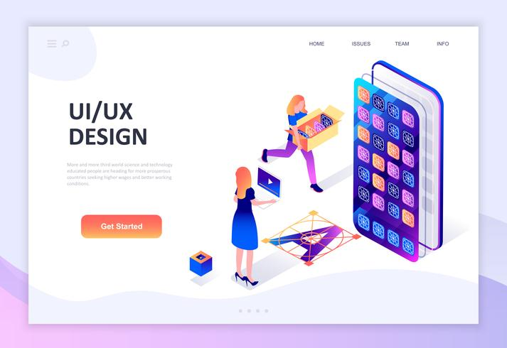 Isometrisches Konzept des modernen flachen Designs von UX, UI-Design