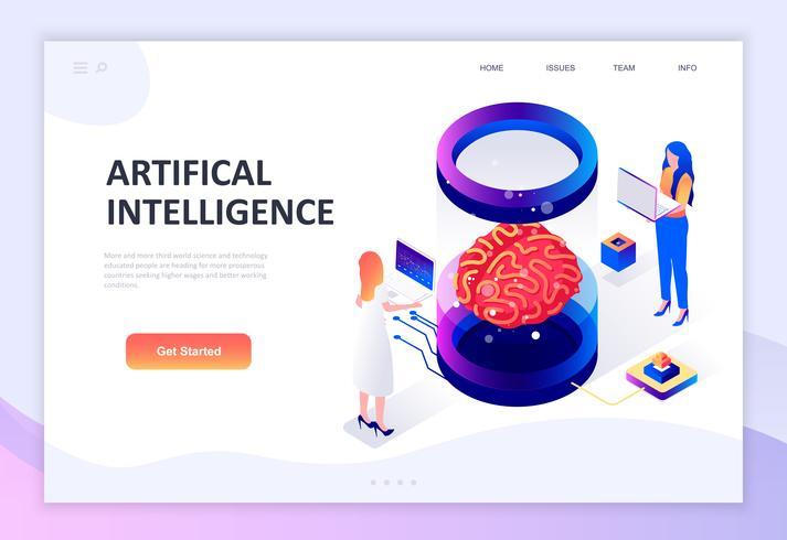 Moderno concepto de diseño plano isométrico de la inteligencia artificial.