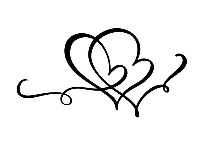 Hand drawn two Heart love sign. Romantic calligraphy vector of valentine day. Concepn icon symbol for t-shirt, greeting card, poster wedding. Design flat element illustration