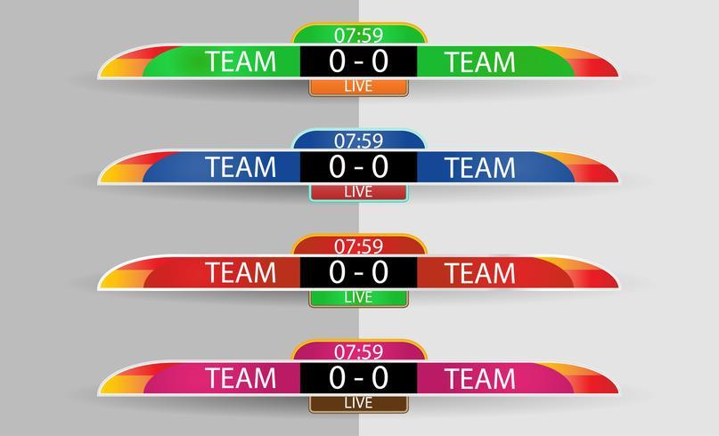 Tabellone segnapunti in diretta Modello grafico di schermo digitale per la trasmissione di calcio, calcio o futsal, modello di disegno vettoriale illustrazione per la partita della lega di calcio. Camicia o abbigliamento color team su entrambi i lati.