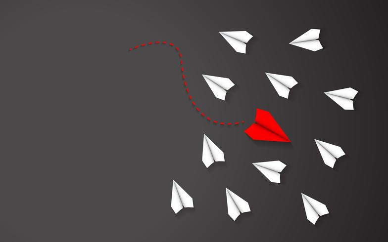 Being different of Red paper airplane concept between white paper airplane. Leadership and going in a different direction theme. Black texture illustration background vector.