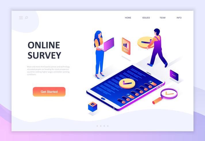 Modern plandesign isometrisk koncept för online-undersökning