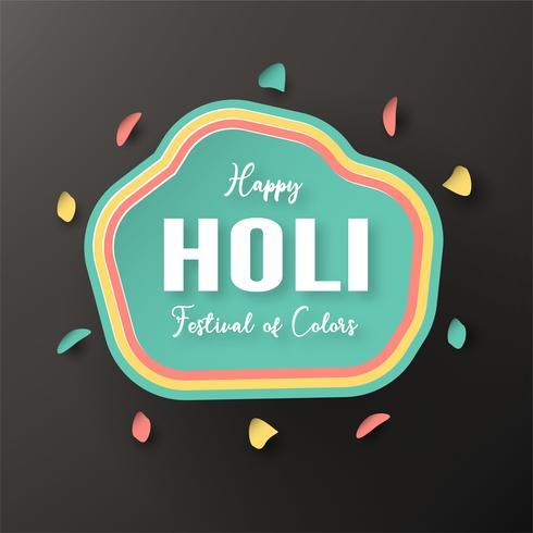 Feliz Holi, Festival de los Colores. Diseño de elementos de plantilla para plantilla, banner, cartel, tarjeta de felicitación. Ilustración vectorial en papel cortado, artesanal, tipo origami con estilo plano laico.