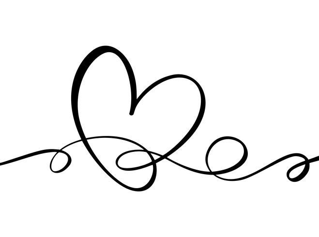 Dibujado a mano corazón signo de amor. Vector de caligrafía romántica del día de san valentín. Símbolo del icono de Concepn para la camiseta, tarjeta de felicitación, boda del cartel. Ilustración de elemento plano de diseño