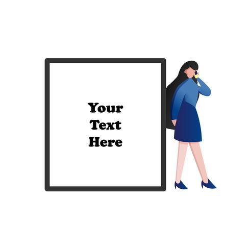Vrouw die haar slimme telefoon met lege ruimte voor tekst gebruikt. Moderne technologie en bedrijfsmensen levensstijl concept. Platte karakter ontwerp illustratie vector.