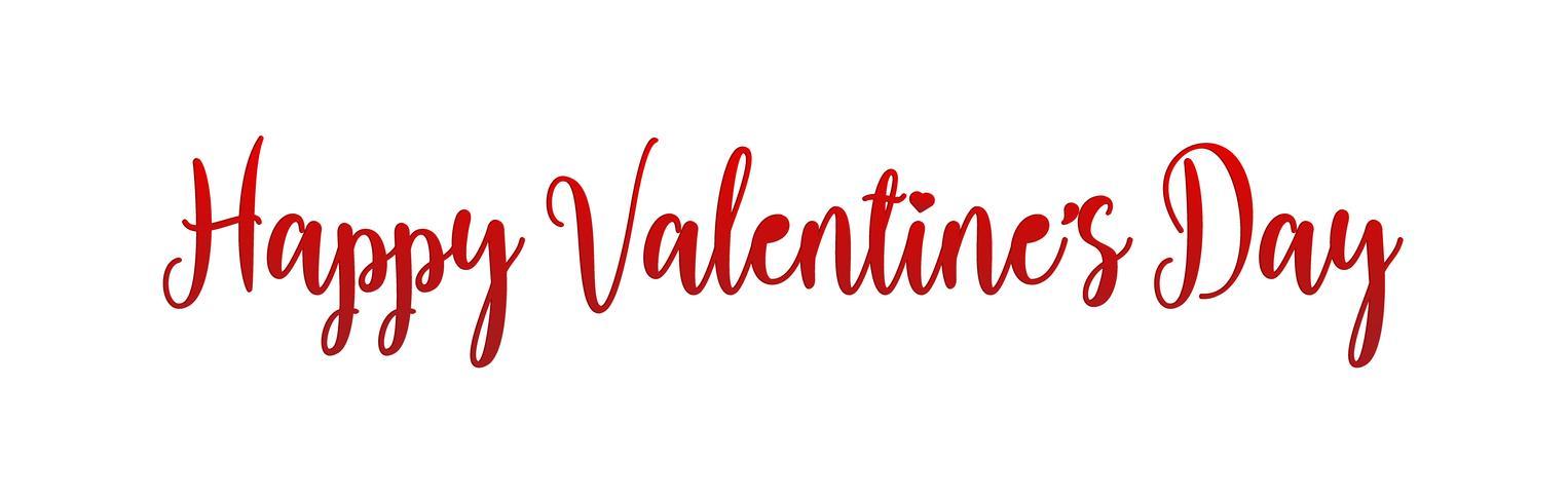 Progettazione di iscrizione di festa di San Valentino felice. Testo rosso dei biglietti di S. Valentino con il carattere di calligrafia dello scritto del cuore. Illustrazione vettoriale.