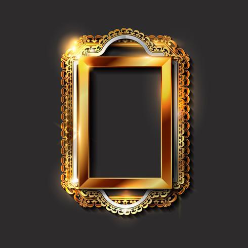 Marcos decorativos vintage dorados y bordes. vector
