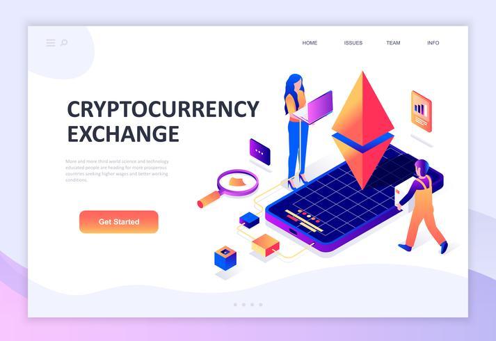 Concetto isometrico moderno design piatto di Cryptocurrency Exchange