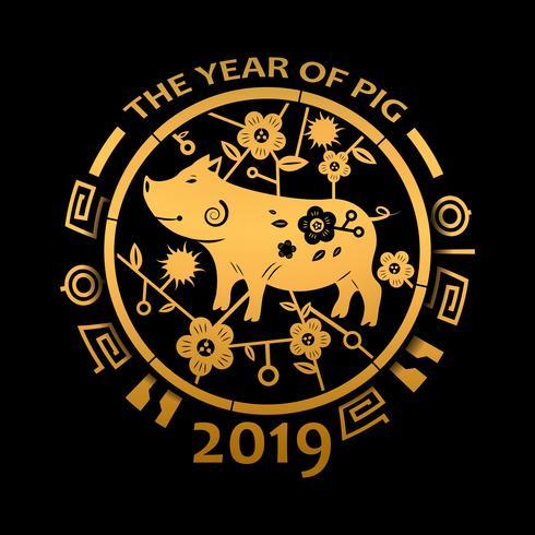 Chinesisches Neujahr 2019 und das Jahr des goldenen Schweins. Feiertags- und Festivalkonzept. Tierkreis-Thema. Frohes neues Thema. Vektor-Illustration Hintergrund vektor