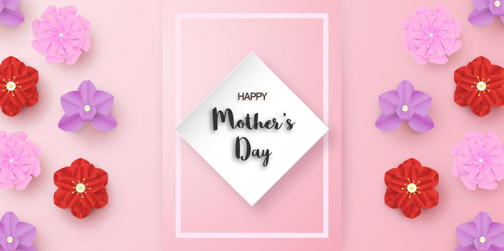 Modèle de conception pour la bonne fête des mères. Illustration vectorielle en papier découpé et style artisanal. Fond de décoration avec des fleurs pour invitation, couverture, bannière, publicité.