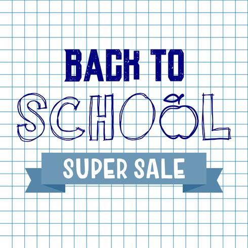 Back to school super sale background. Advertising tag concept. vector