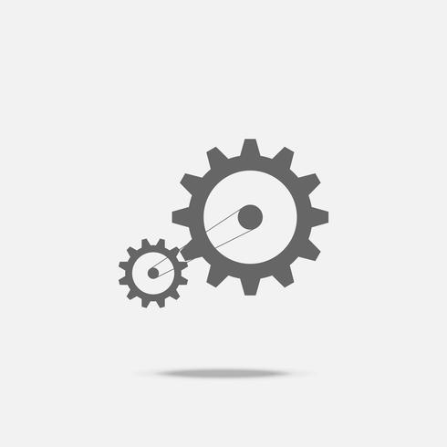 Gear transmission mechanical belt conveyor flat design vector icon with shadow