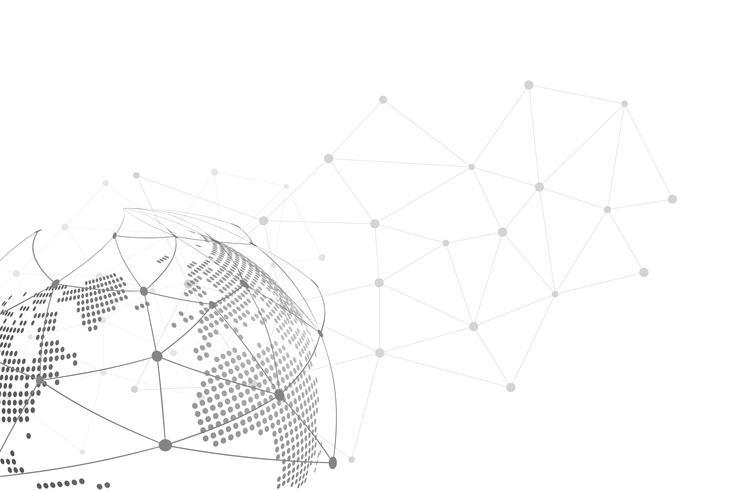Vettore astratto bianco della priorità bassa. Astratto grigio Sfondo di design moderno per report e modello di presentazione del progetto. Illustrazione vettoriale. Linea a punti e circolare. Connessione tecnologica globale
