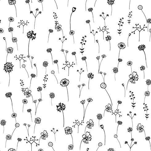 Seamless Flowers Pattern Hand Drawn Outline Stroke Art