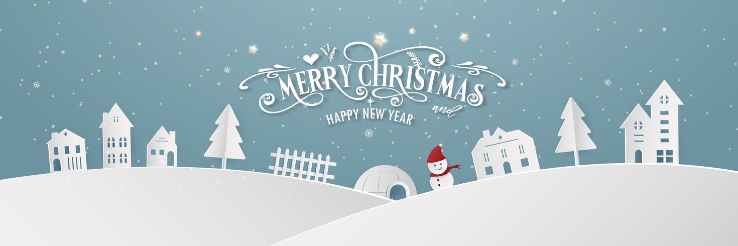 Feliz Navidad día de la ciudad nevada noche y feliz año nuevo fiesta de año final de Navidad azul año nuevo fiesta silueta Santa Claus y ciervos decoración de la tarjeta de felicitación fondo de papel tapiz abstracto. Vector de diseño grafico